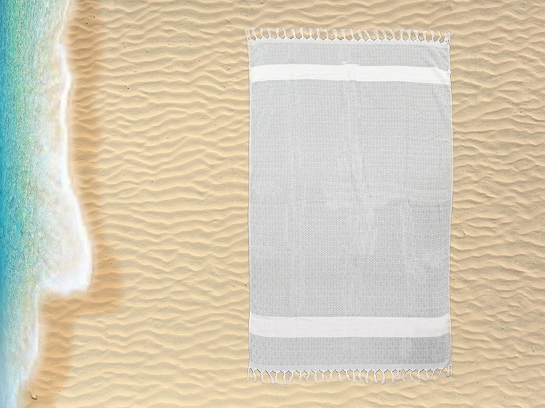 Jumbo Large Turkish Beach / Bath Hamam Peshtemal Fouta Towel. Traditional Design 100% Cotton with Tassles (Design 3, 100cm x 150cm) Generic