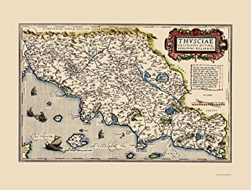 Amazon.com: Old Italy Map - Tuscany Region - Ortelius 1573 - 23 x ...