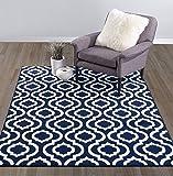 "Diagona Designs Contemporary Moroccan Trellis Design 5 by 7 Area Rug, 63"" W x 87"" L, Navy & Ivory"