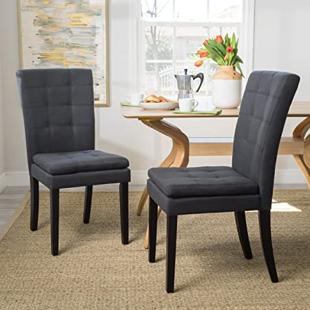 Christopher Knight Home 300403 Badin Fabric Dining Chair Set of 2 , Dark Charcoal