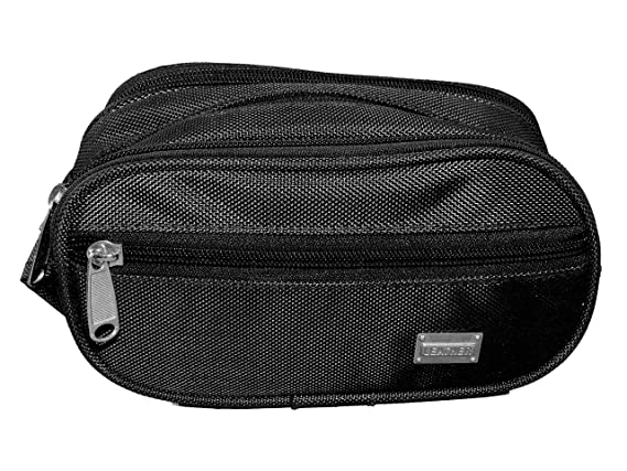 SHOPATHON INDIA Multipurpose Synthetic Travel Toiletry Black Shaving Kit with 3 Compartments Toiletry Kits