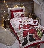 Catherine Lansfield, Set di Copripiumino Matrimoniale e 2 federe, motivo: Babbo Natale, letto matrimoniale, 230 x 220 cm/50 x 75 cm