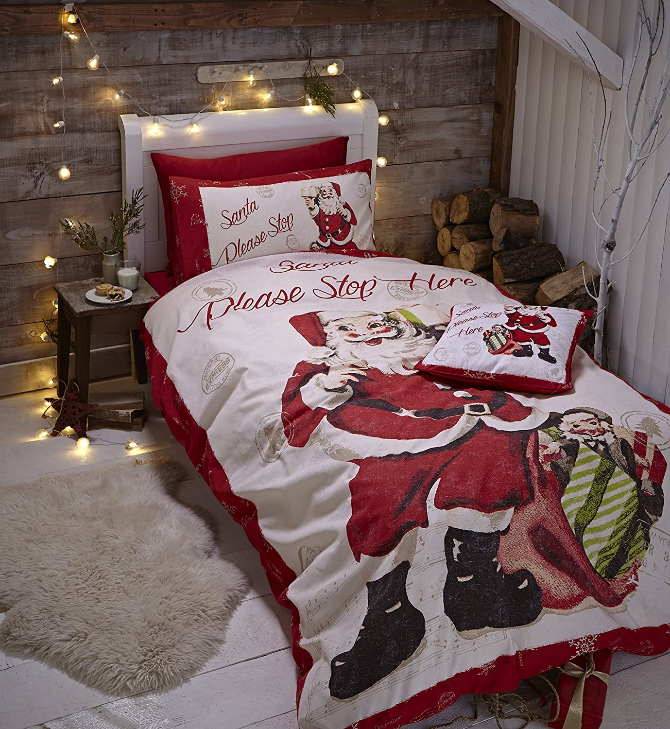 Catherine Lansfield Retro Santa Easy Care Double Duvet Set Multi ...