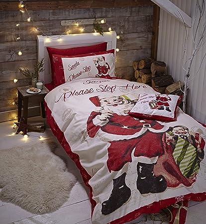 Biancheria Letto Singolo.Catherine Lansfield Biancheria Da Letto Matrimoniale Stile Retro Motivo Babbo Natale