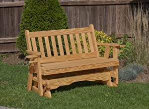 Amish Heavy Duty 800 Lb Mission Pressure Treated Porch Patio Garden Lawn Outdoor Glider with Cup Holders-5 Feet-Brown-Made in USA