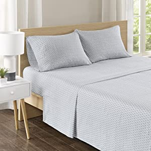 Comfort Spaces CS20-0579 100% Cotton Percale 4 Piece Set Ultra Soft Breathable Deep Pocket Printed Geometric Pattern Sheets with Pillow Cases Bedding, Queen, Diamond Grey