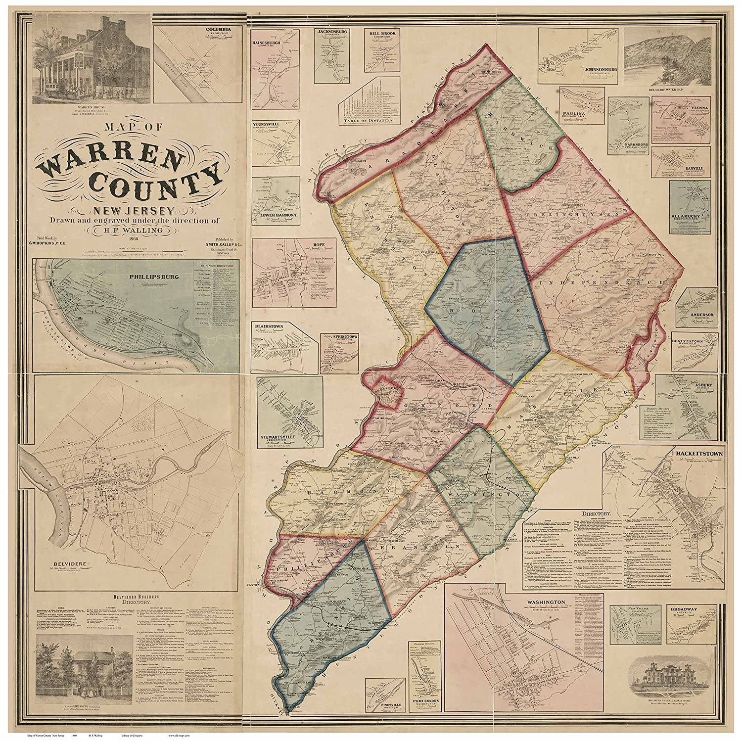 Amazon.com: Warren County New Jersey 1860 - Wall Map with ... on map of west carrollton, map of petros, map pa county, map of oneida, map of worthington state forest, map of cook forest state park, map of clive, map of city of niagara falls, map of upper bucks, map of rock island state park, map of new carlisle, map of middleburg heights, map of clarion, map maine county, map of ebensburg, map of piketon, map of hazlehurst, new jersey warren county, map of axtell, map of windsor heights,