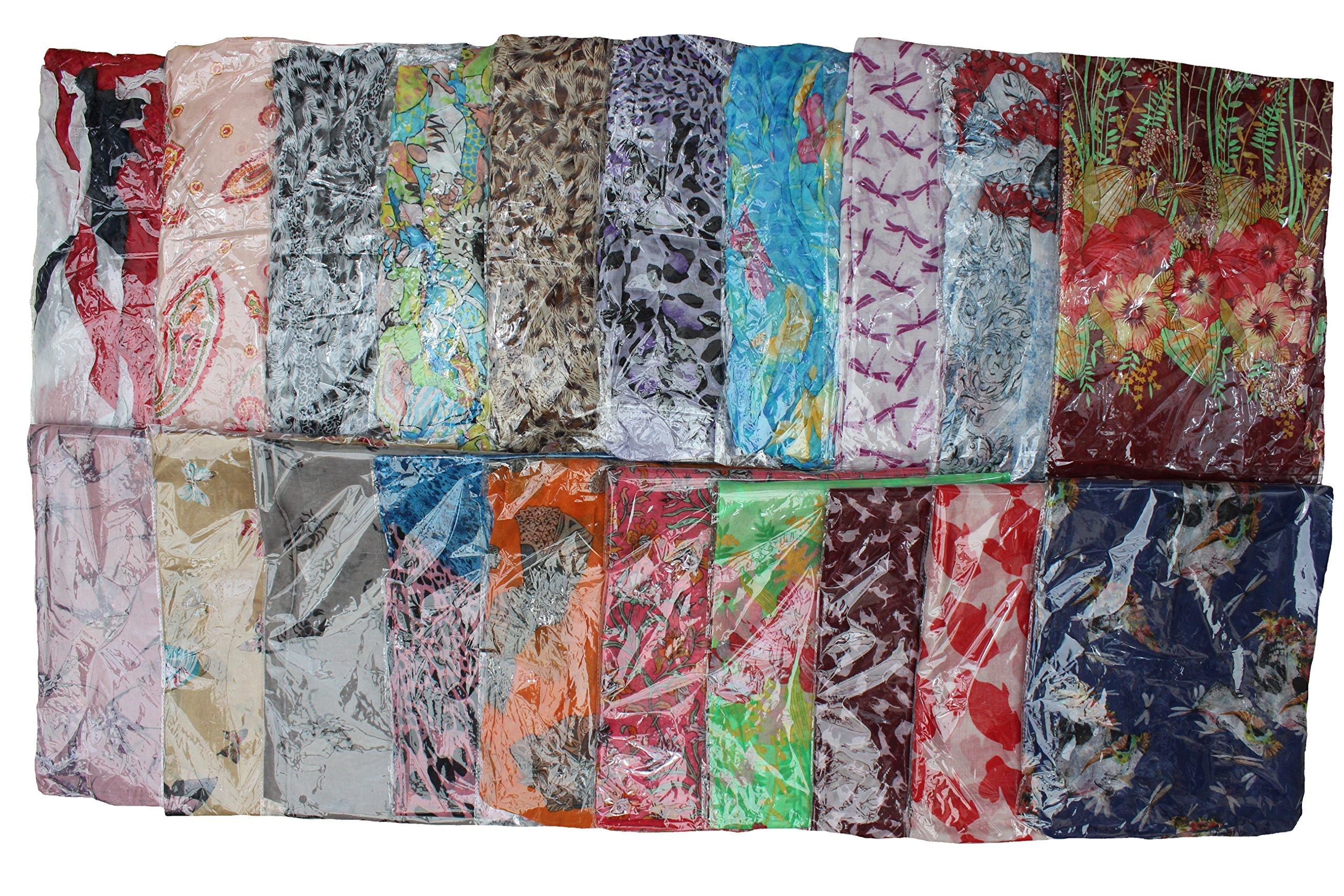 Kuldip Crushed Effect Pashmina Style Scarf Shawl Stole. Mixed designs. (Pack of 10).