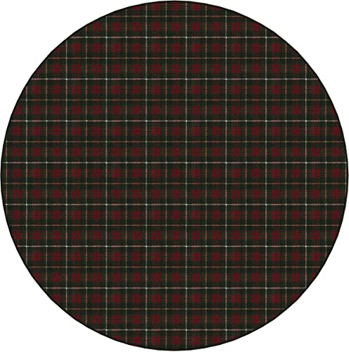 Koeckritz Rugs Bit O Scotch Plaid Pattern Indoor 26oz Cut Pile Area Rug 12 Round, Tartan Green