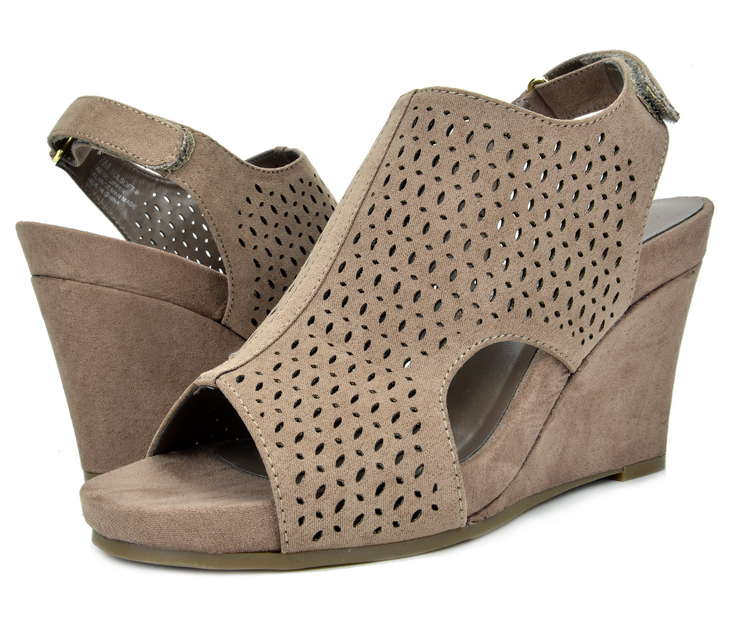 TOETOS Women's Solsoft-6 Taupe Mid Heel Platform Wedges Sandals - 9.5 M US by TOETOS (Image #2)