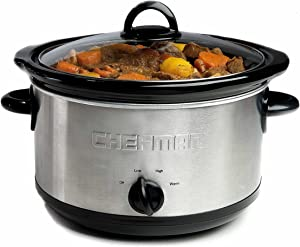 Chefman 6 Quart Slow Cooker with 3 Manual Heat Settings, Removable Crock Insert, Dishwasher Safe Stoneware & Lid, Large Family Size Ideal for 6+ People Fits 6 lb Roast, Stainless Steel
