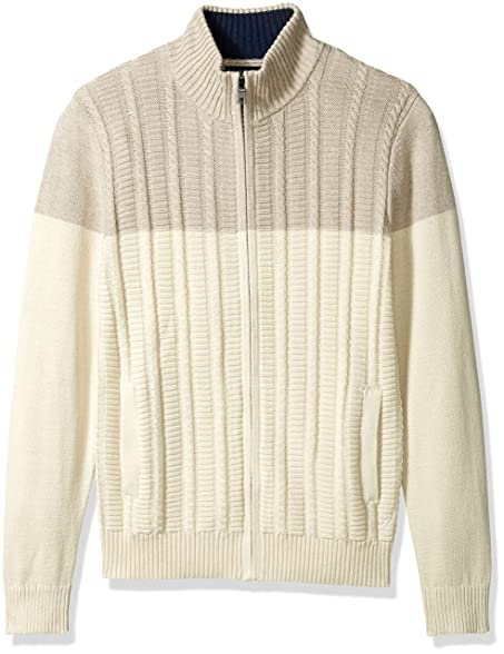 Nautica Men's Zip-Front Cable Knit Cardigan, Bone White, S at ...
