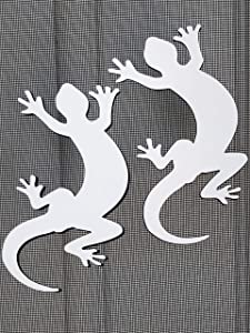 """DCentral Two Geckos Flexible Screen Magnets: Double-Sided Decor; for Non-Retractable Screens, Multipurpose, Helps to Stop Walking into Screens, Covers Small tears in Screens. Size 4.2"""" x 7"""" Ea"""