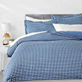 Amazon Basics Light-Weight Microfiber Duvet Cover Set with Snap Buttons - Full/Queen, Gingham Plaid