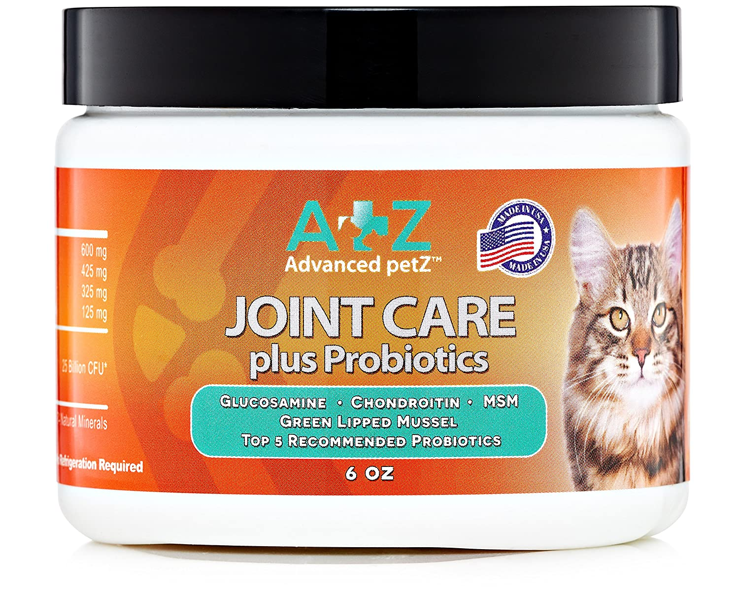 Advanced petZ Joint Care Food Supplement for Cats. Plus Glucosamine, Chondroitin, MSM. Best Ingredients to Ease Arthritis and Senior Pain. Natural Probiotics to Support Healthy Pet Diet. 6oz