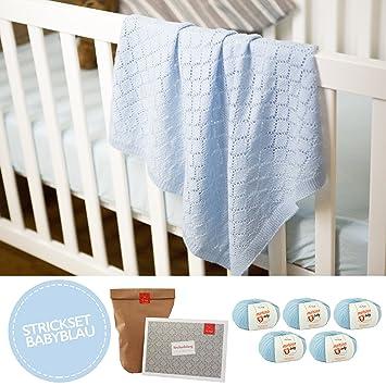 MyOma Baby Tricoter Couverture pour bébé en Tricot avec 5 pelotes de Laine  100% Laine 6b1d9a27eee