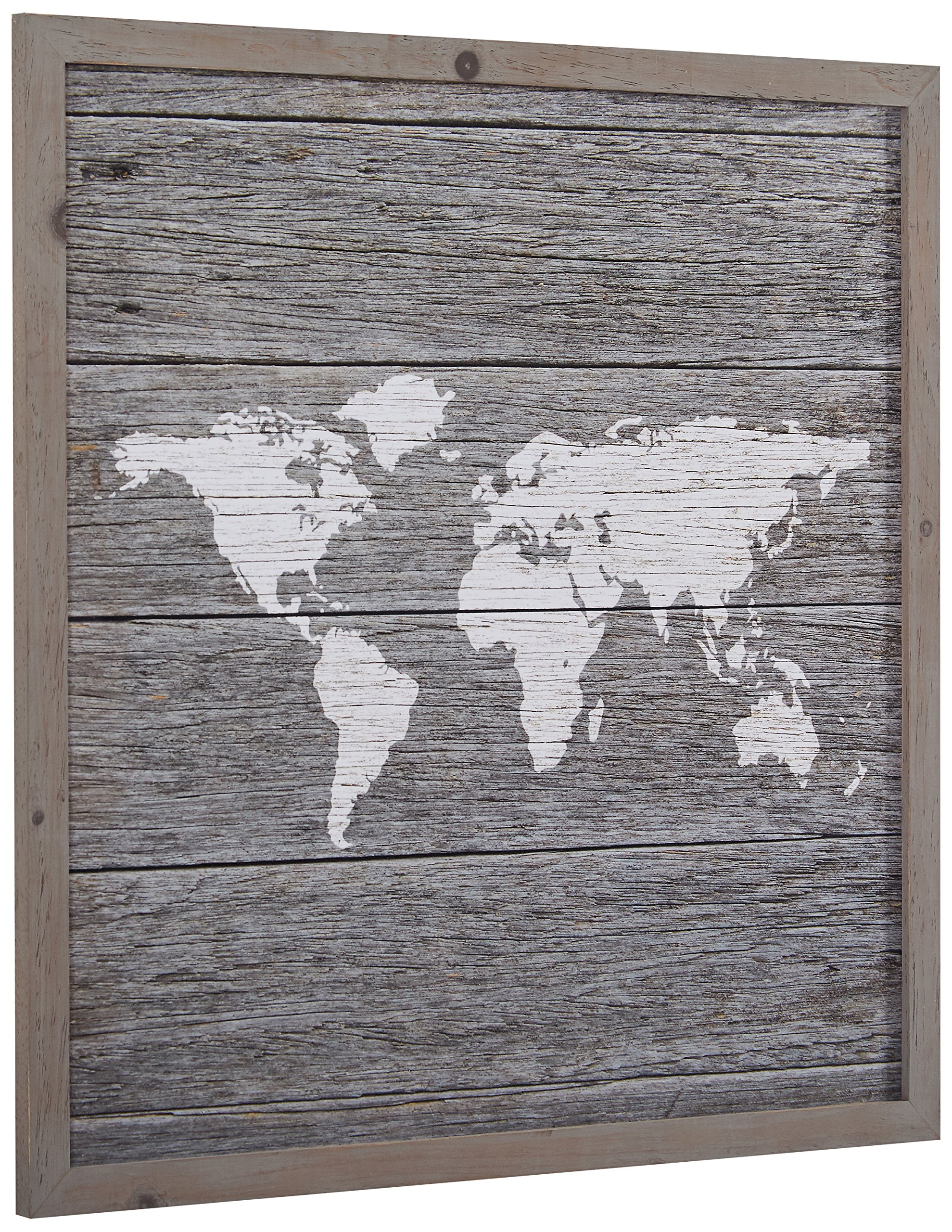 Global Map, Paper on Wood, Grey Wood Frame, 14'' x 14'' by Stone & Beam (Image #2)