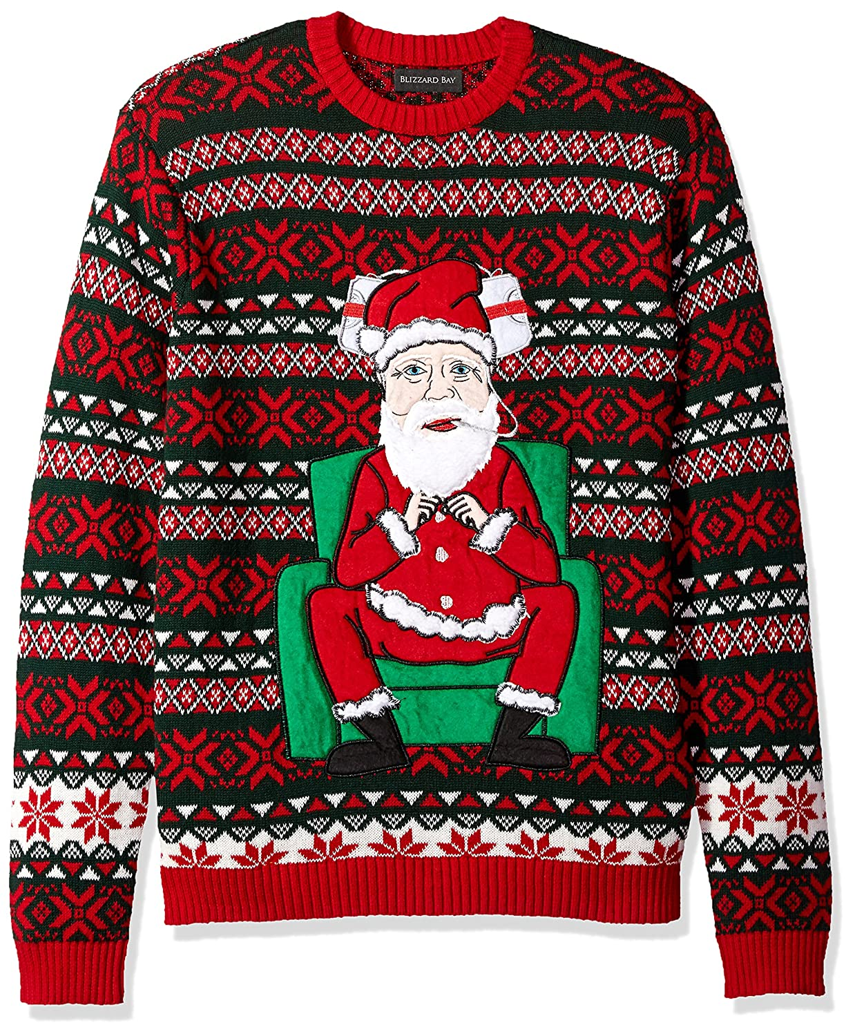 Blizzard Bay Men's Santa Claus Themed Ugly Christmas Sweater Blizzard Bay Mens Apparel E62251