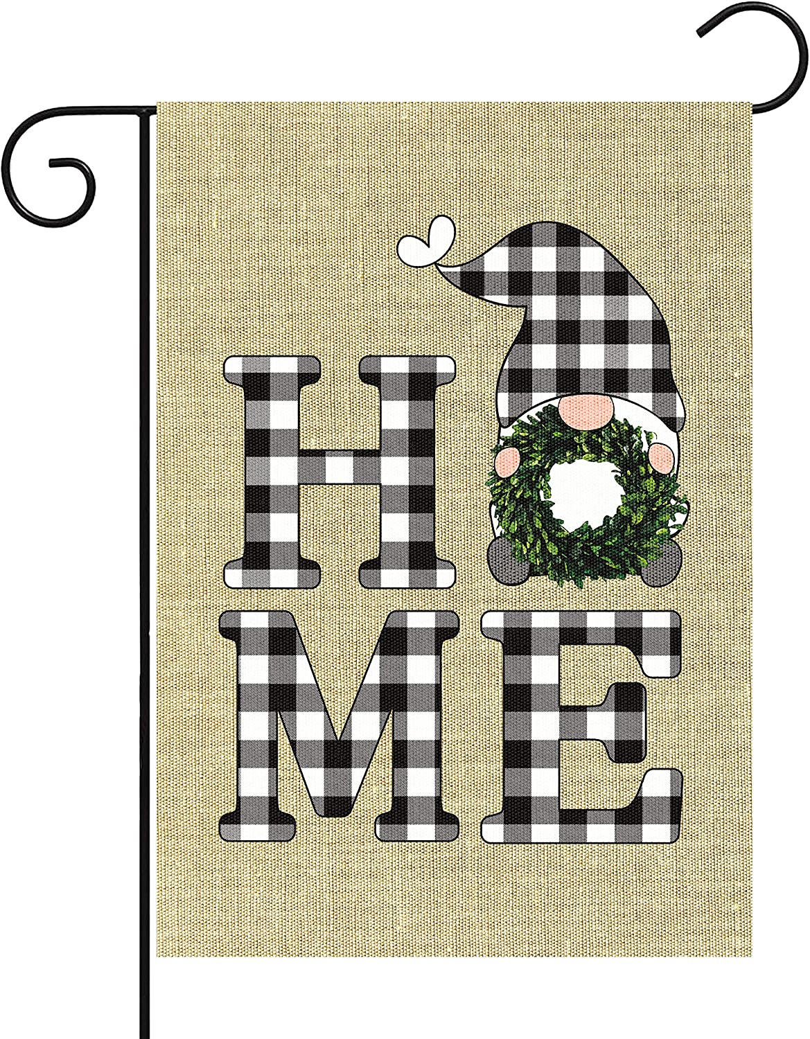 WATINC Home Gnome Garden Flag Sweet Home Burlap Yard Sign Vertical Double Sided Black White Buffalo Check Plaid Wreath Gnome Spring Summer Party Decorations Supplies for Indoor Outdoor 12.6 x 18.1 in