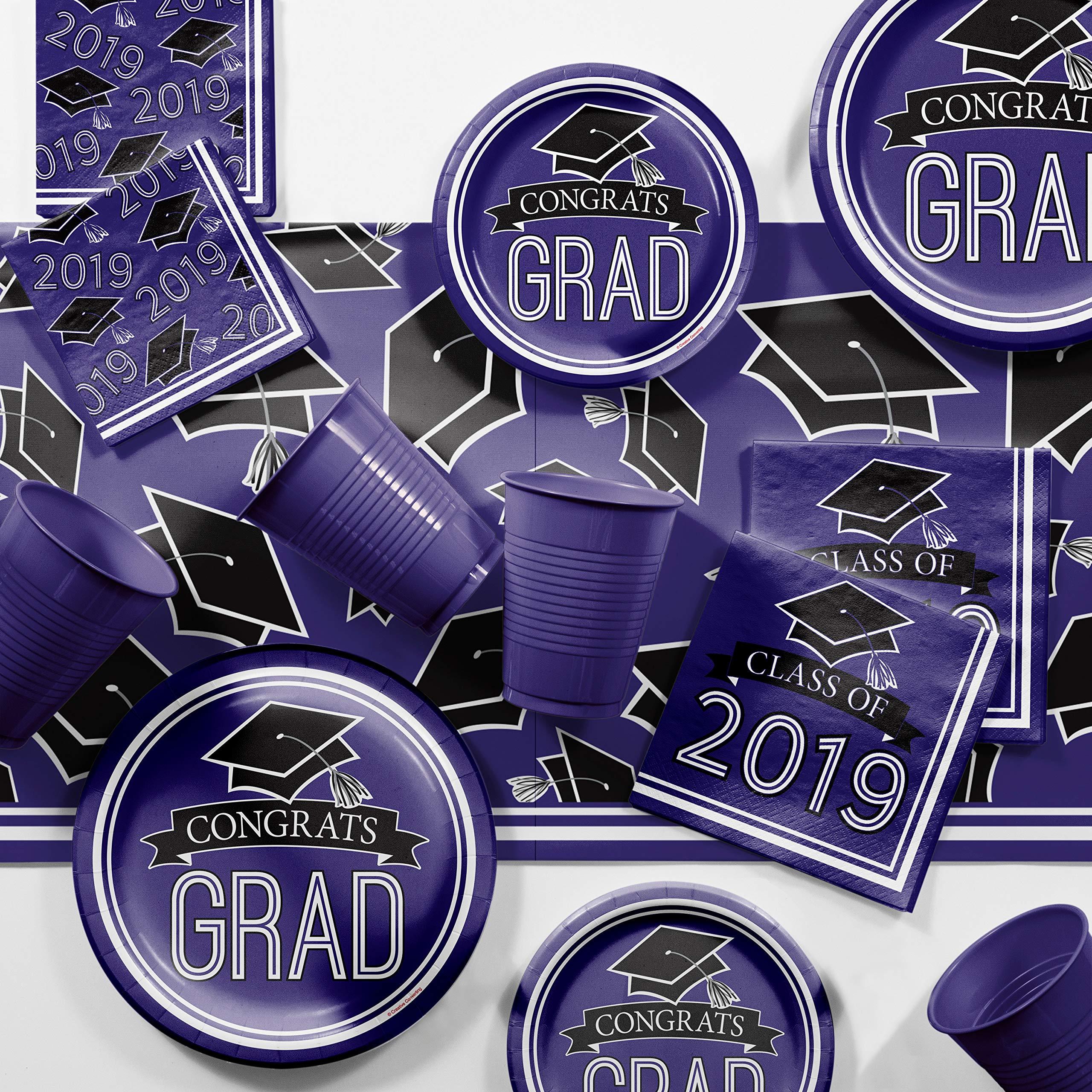 Purple 2019 Graduation Party Supplies Kit, Serves 36