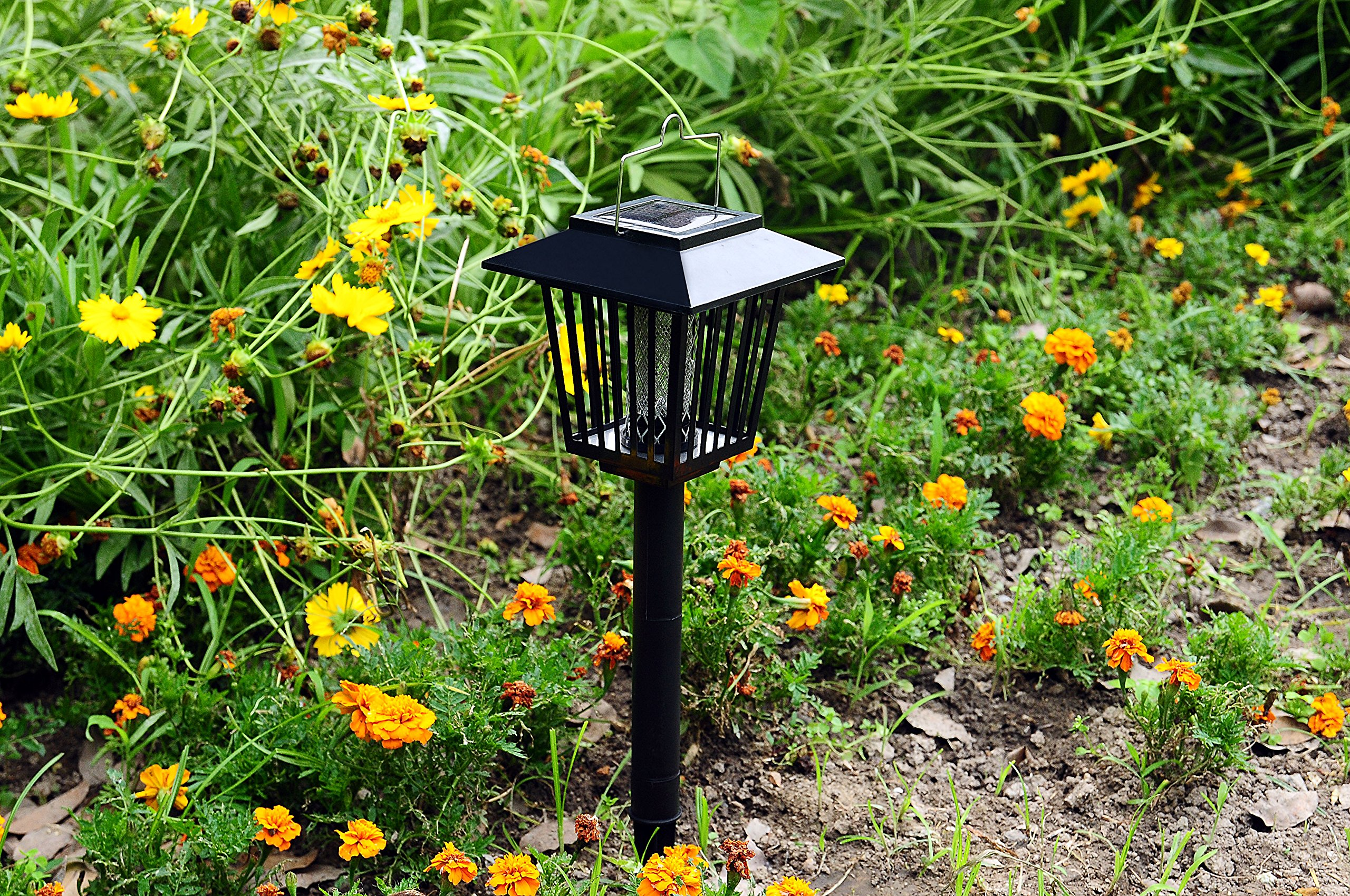 New & Improved Solar Powered Zapper- Enhanced Outdoor Flying Insect Killer- Hang or Stake in the Ground- Cordless Garden Lamp- Portable LED Machine- Best Stinger for Mosquitoes/Moths/Flies (Black) by Solario (Image #6)