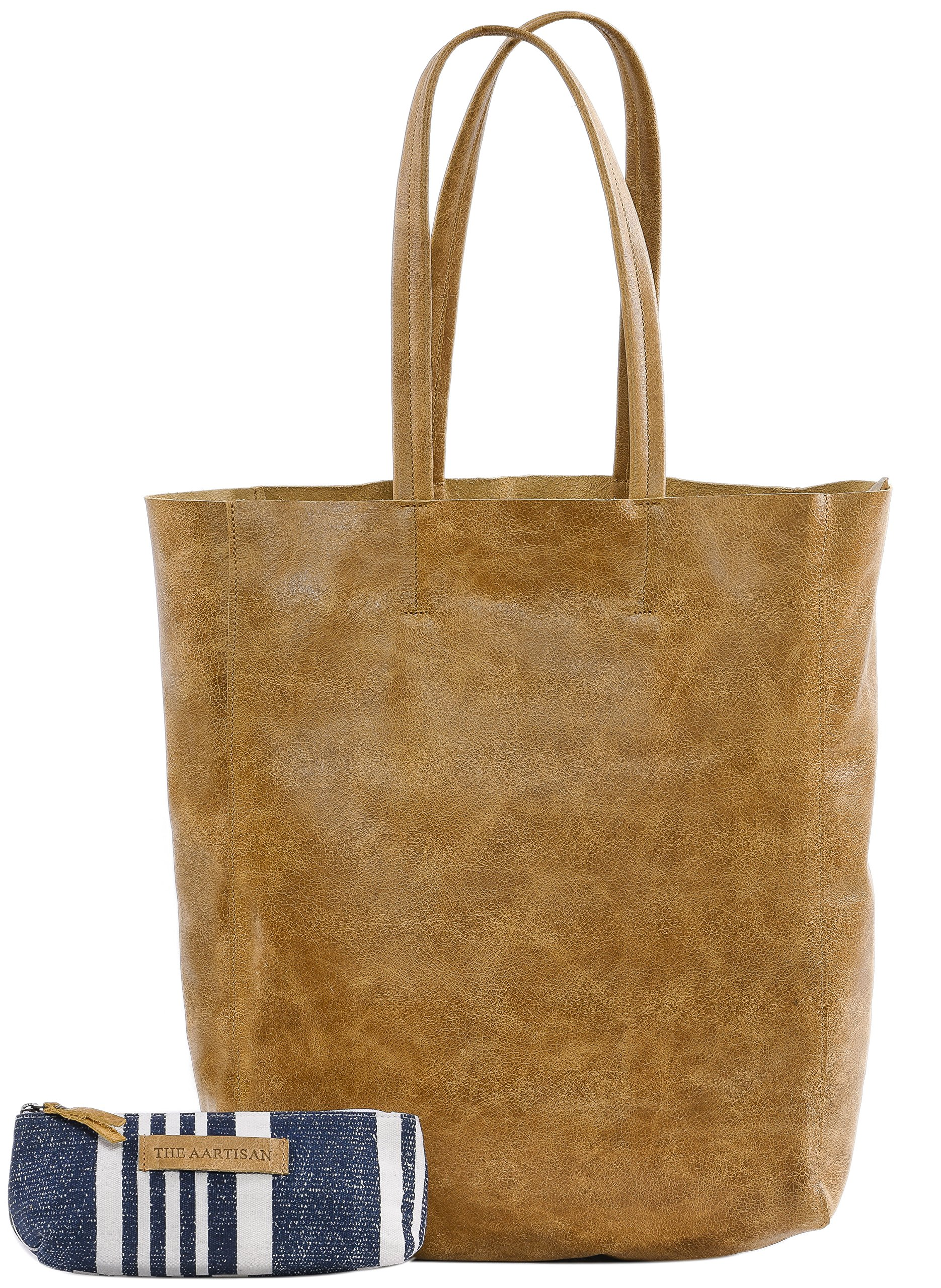 The Aartisan Women's Vintage Leather Tote Bag 17 inch, Soft Full Grain Leather in Chestnut Color,Multi Functional Tote Bag