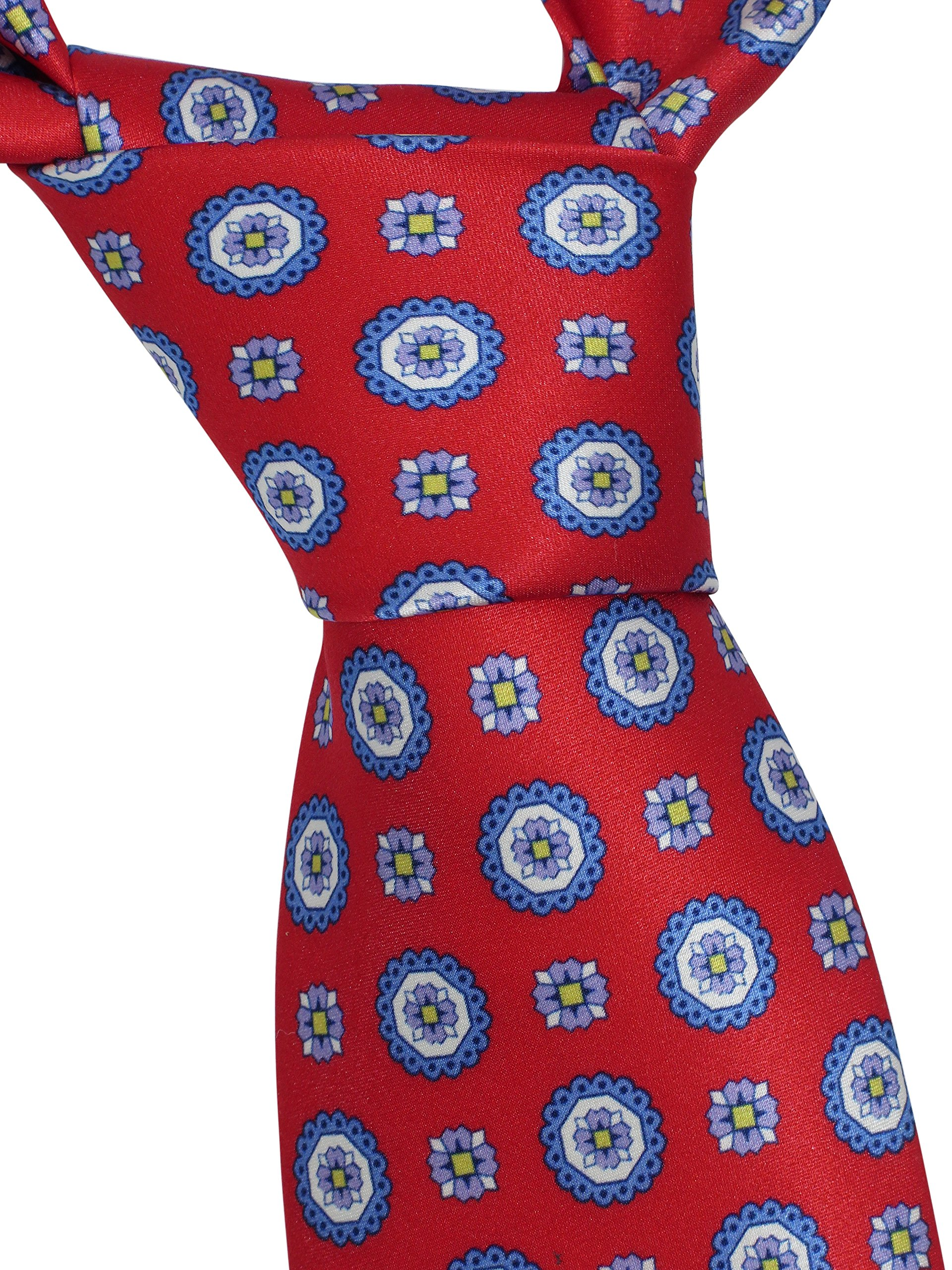 Brioni Men's Red Floral 100% Silk Skinny Neck Tie by Brioni