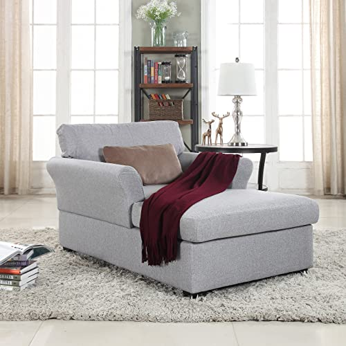 Divano Roma Furniture Large Classic Linen Fabric Living Room Chaise Lounge Light Grey