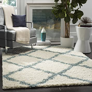 Safavieh Dallas Shag Collection SGD257J Ivory And Light Blue Area Rug 8 Feet 6 Inches