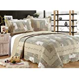"""All for You 3-piece Reversible Bedspread/ Coverlet / Quilt Set-beige, pink, burgundy and gray green sage prints (Oversized king 110""""x120"""")"""