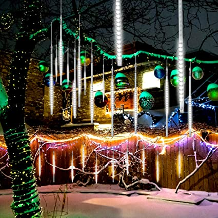gtcoupe led meteor shower rain lights50cm 10 tubes 540 led icicle string lights raindrop