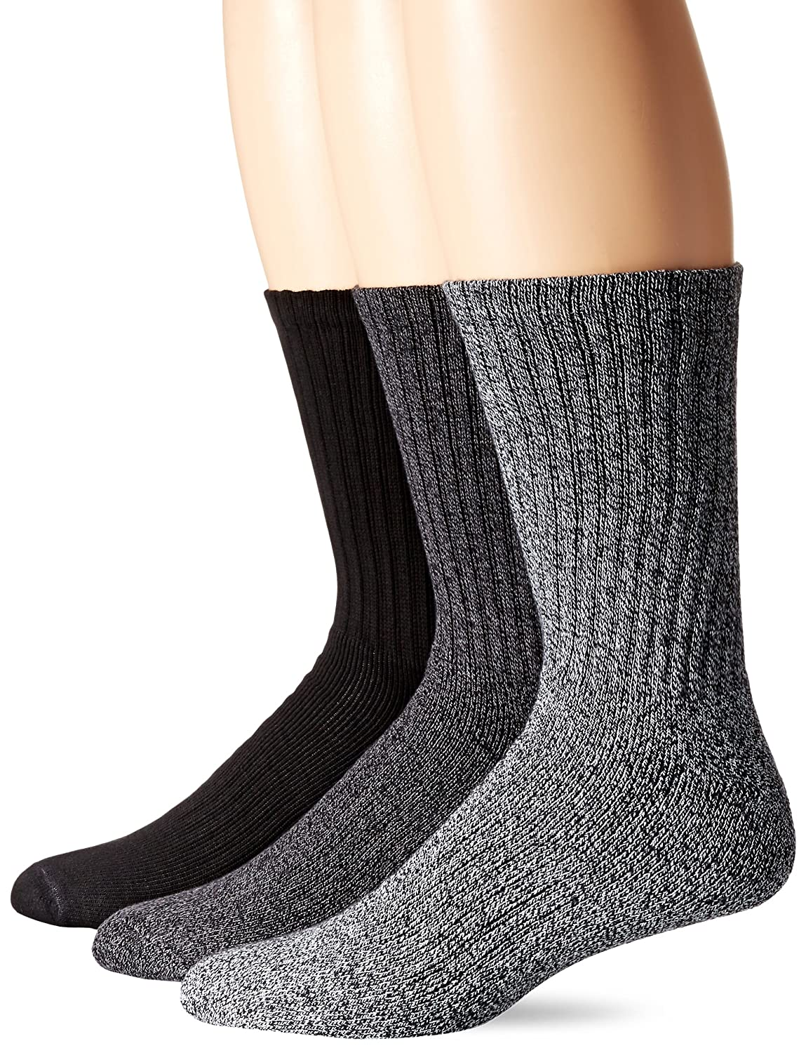 Dockers Men's 3 Pack Enhanced and Soft Feel Cushion Crew Socks Black 10-13 Sock/6-12 Shoe Royce Too D31062