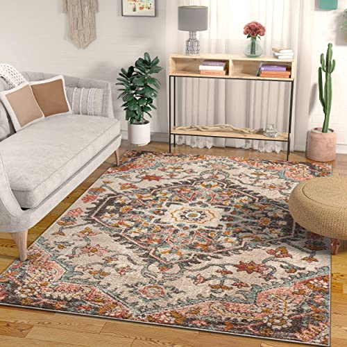 Well Woven Mystic Gwendolyn Blush Bohemian Floral 7'10″ x 9'10″ Distressed Area Rug