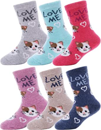 Kids Wool Socks 6 Pairs Boys Toddlers Girls Winter Boot Thermal Warm Cabin Thick Cotton Snow Soft Child Socks