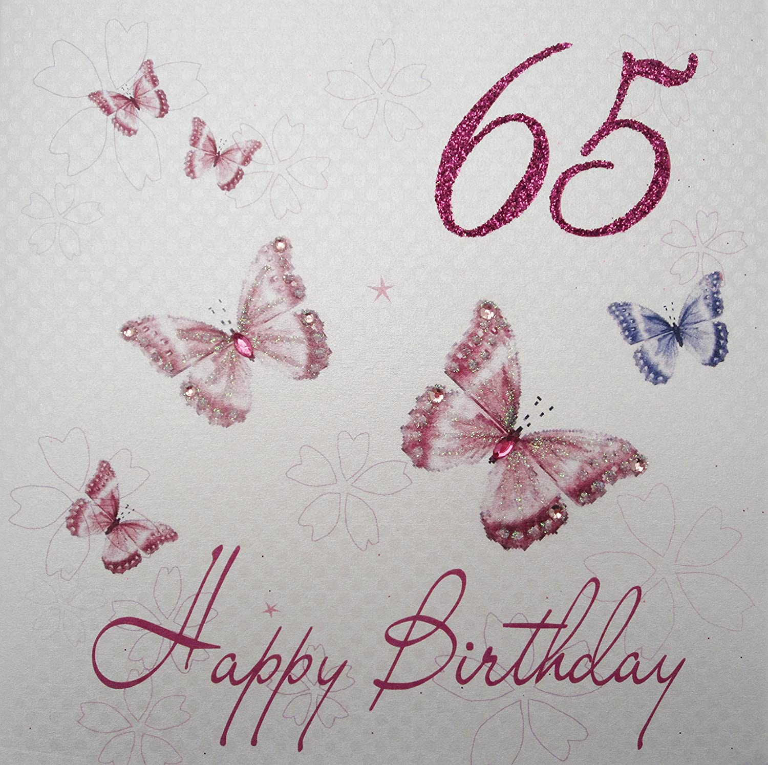 Download 65th birthday card turning 65 happy 65th birthday friend - White Cotton Cards Butterflies 65 Happy Birthday Handmade 65th Birthday Card Amazon Co Uk Kitchen Home