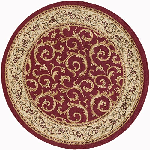Westminster Transitional Oriental Red Round Area Rug