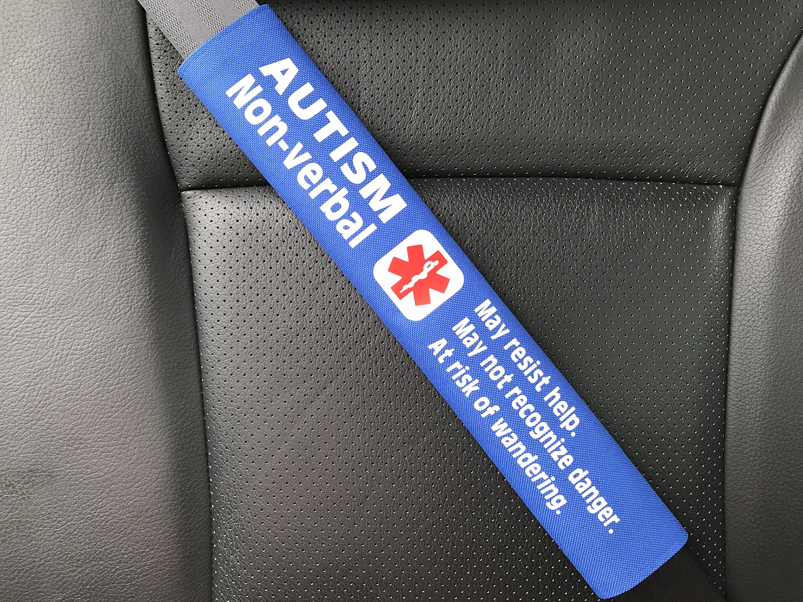 Autism Non-Verbal Medical Alert Seat Belt Cover (Royal Blue)
