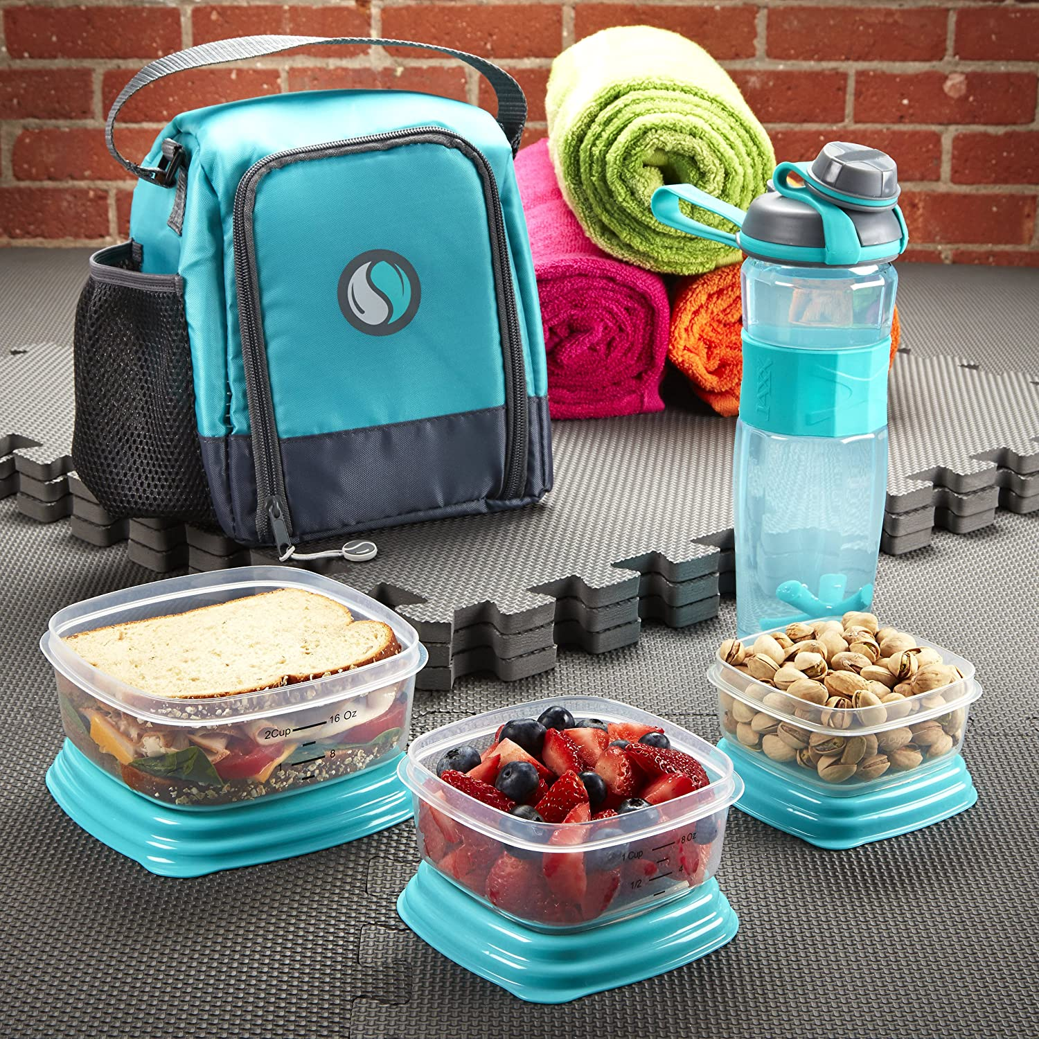 Fit /& Fresh Meal Prep Starter Kit with Portion Control Containers and Jaxx Active Shaker Bottle