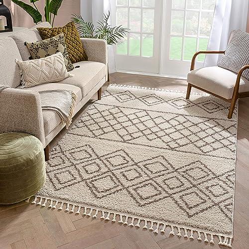 Well Woven Layla Shag Ivory Moroccan Trellis Area Rug 9×13 9'3″ x 12'6″