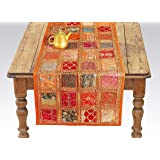Labhanshi Orange Embroidered Table Runner - Indian Cotton Boho Bohemian Hippie Patchwork Decoration Decor Tapestry…