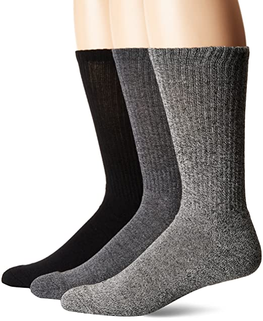 Chaps Mens Assorted Solid Mock Rib Casual Crew Socks (3 Pack), black Shoe Size: 6-12 at Amazon Mens Clothing store: