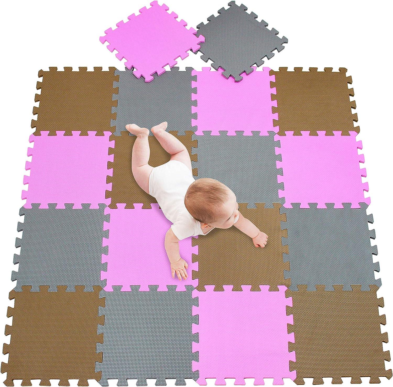 Tappeto Puzzle Bambini Gomma Eva Resistente Isolante Lavabile Gioco per Bambini Tappeto da Gioco Tappetino Tappetini Puzzle Bianco-Rosa-Grigio 25 Pezzi
