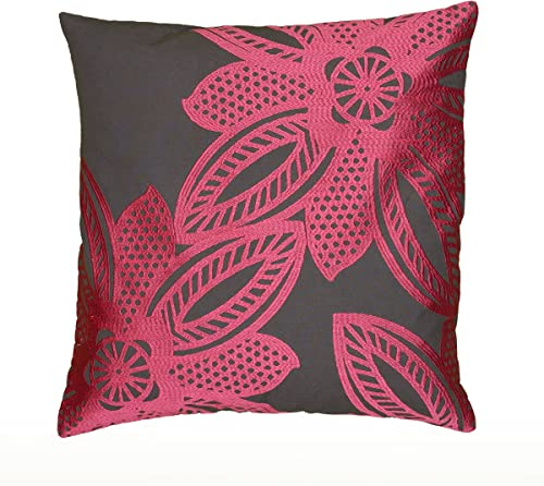Rizzy Home T06467 Crewel Stitch Embroidery Details Decorative Pillow, 18 by 18-Inch, Hot Pink