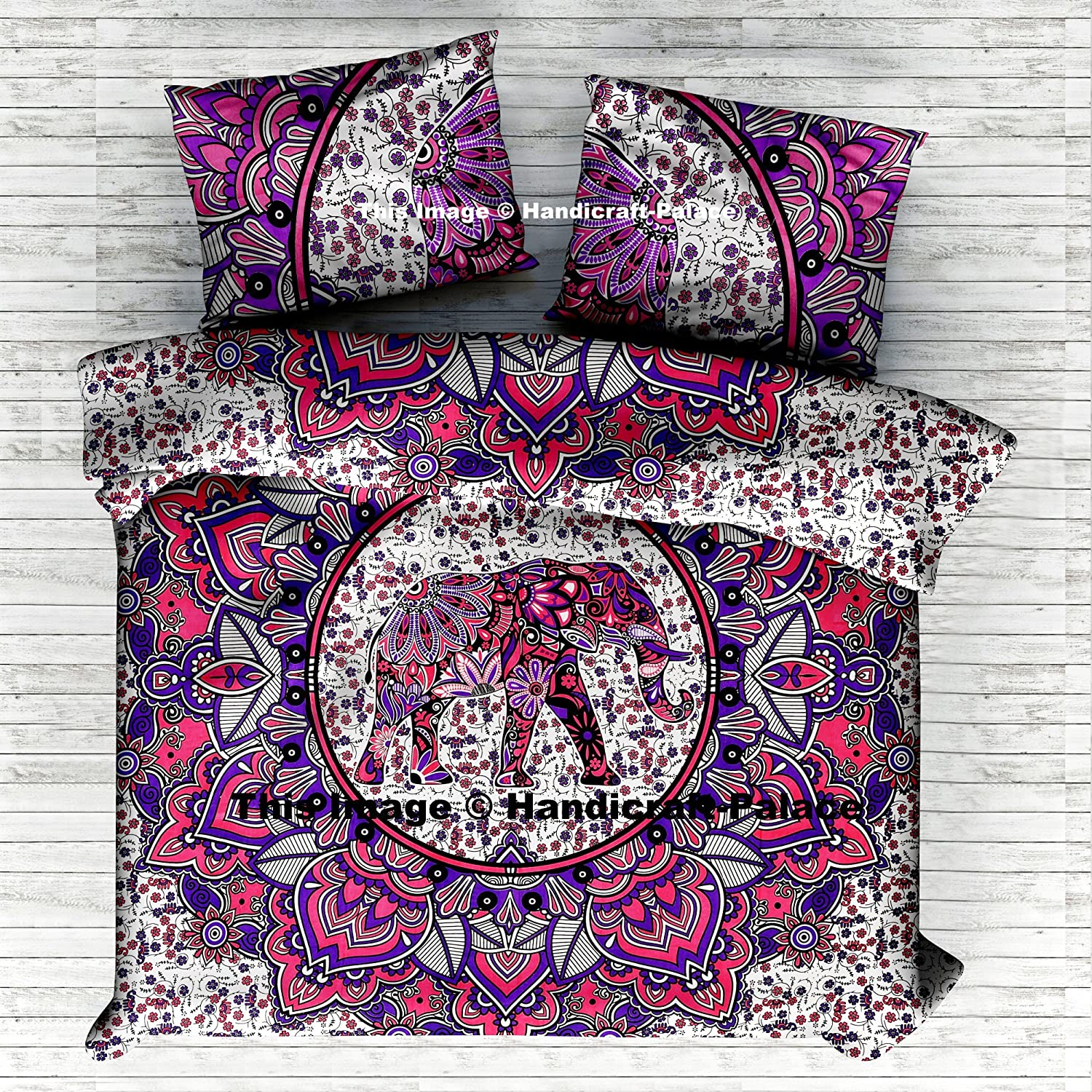 Indian Handmade Elephant Mandala Queen Size Duvet Cover Cotton Reversible Doona Cover Quilt Blanket Hippie Set Pillow case 95