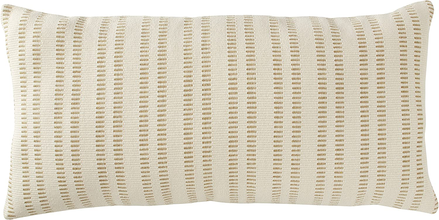 "Amazon Brand – Stone & Beam French Laundry Stripe Decorative Throw Pillow, 12"" x 24"", Tan"
