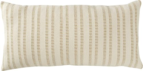 Amazon Brand Stone Beam French Laundry Stripe Decorative Throw Pillow, 12 x 24 , Tan