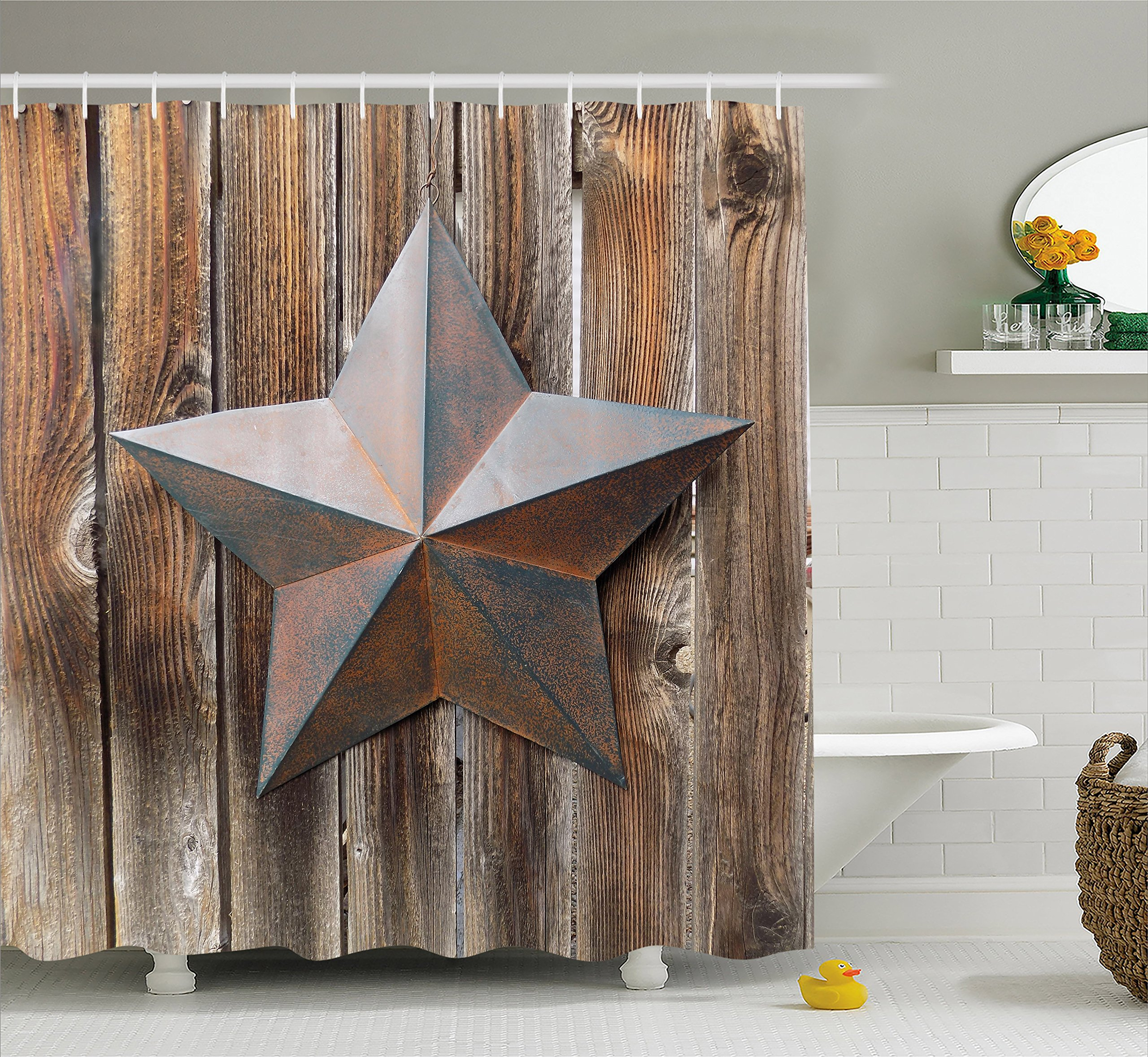 Ambesonne Primitive Country Decor Shower Curtain, Antique Rusty Star Figure on Weathered Wooden Planks Vintage Home Image, Fabric Bathroom Decor Set with Hooks, 75 Inches Long, Brown