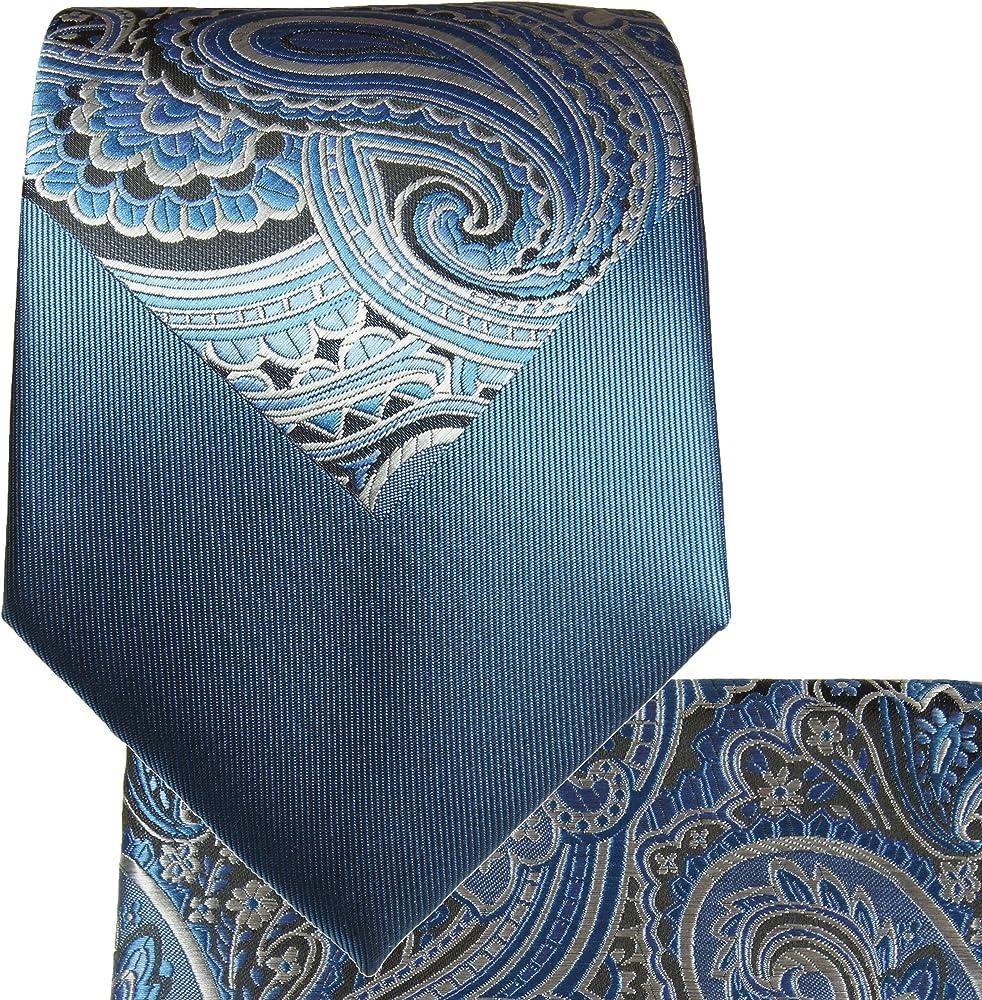 Azul Contraste nudo corbata Set 2pcs. 100% Seda Corbata para ...