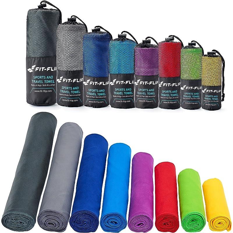 Fit-Flip Toalla de Microfibra en Todos los tamaños / 12 Colores - compacta, Ligera y Ultra Absorbente - Toalla de Deporte, Toalla de Viajes, Toalla de baño (Amarillo, 50x30cm - 1 Toalla (sin Bolsa))
