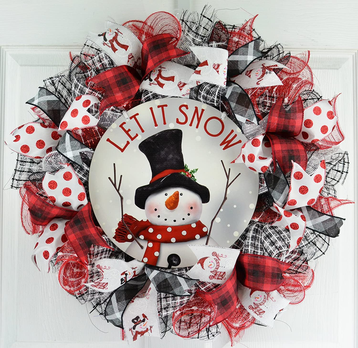 Snowman Wreath | Let It Snow Christmas Mesh Outdoor Front Door Wreath; White Red Black